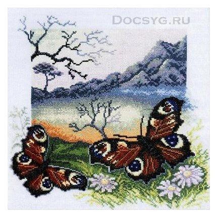 Схема вышивки Бабочка Павлиний
