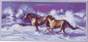 схема вышивки бег лошадей по волнам