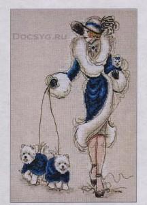 схема вышивки дама с собачками