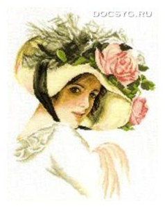 схема вышивки девушка в шляпе