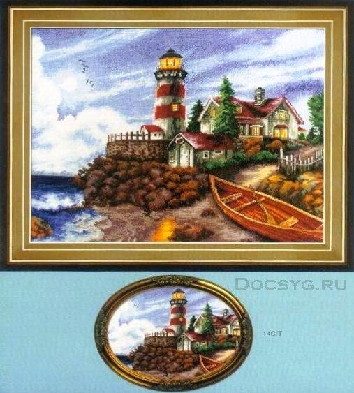 схема вышивки дом у маяка