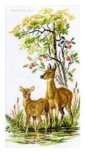 схема вышивки олени на лугу