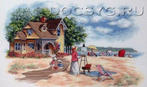 схема вышивки пляжный домик