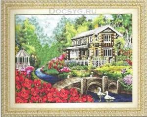 схема вышивки река у дома