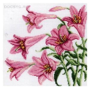схема вышивки розовые лилии