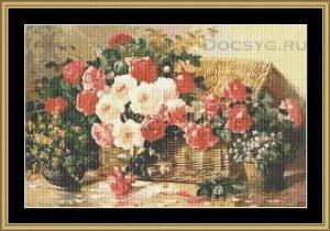 схема вышивки розы для пикника