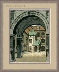 схема вышивки старый город. арка