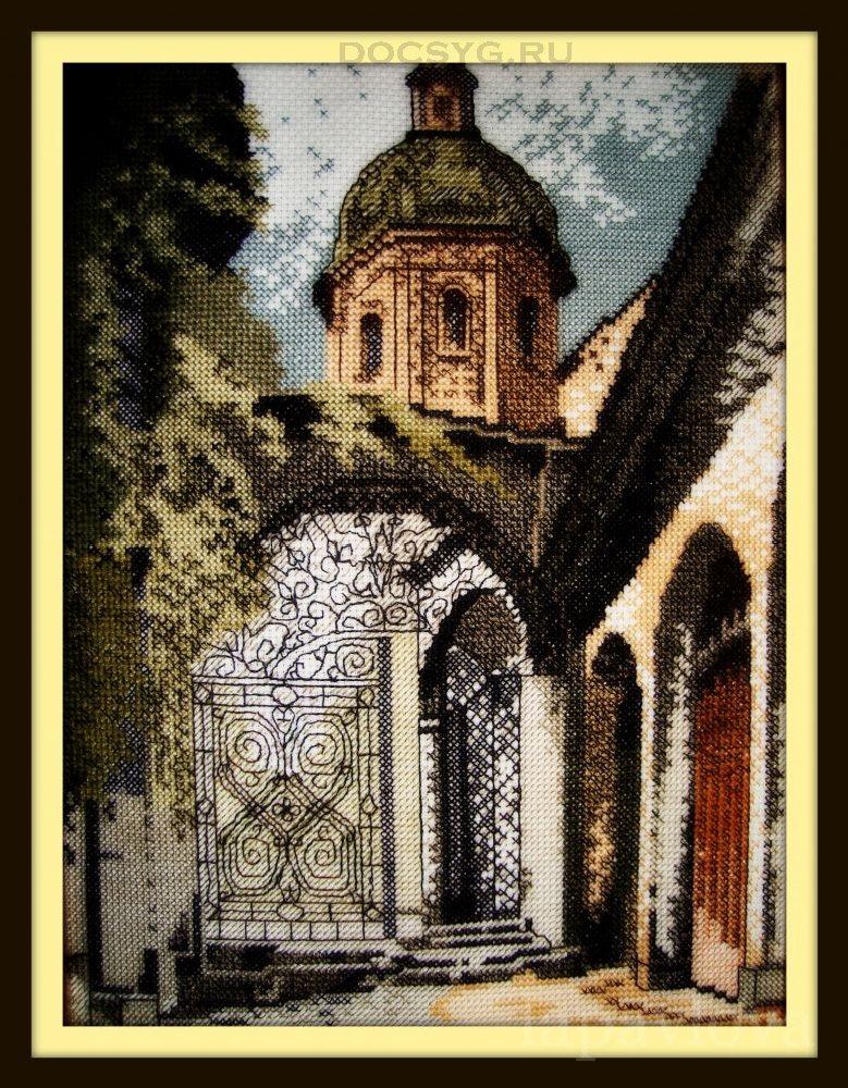 схема вышивки старый город. башня