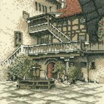 схема вышивки старый город. дворик