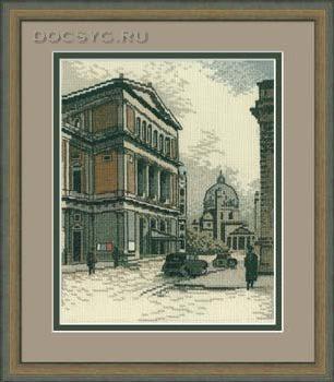 схема вышивки старый город. улица