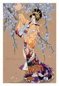 схема вышивки цветущая сакура