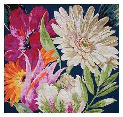 схема вышивки веер цветов