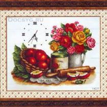 схема вышивки яблочный натюрморт с часами
