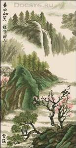 схема вышивки японский пейзаж