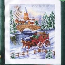 схема вышивки зимняя дорога