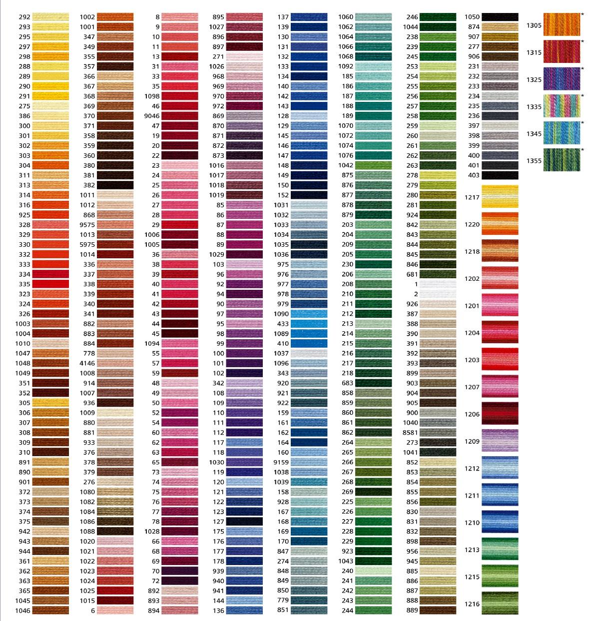 Таблица соответствия для вышивки