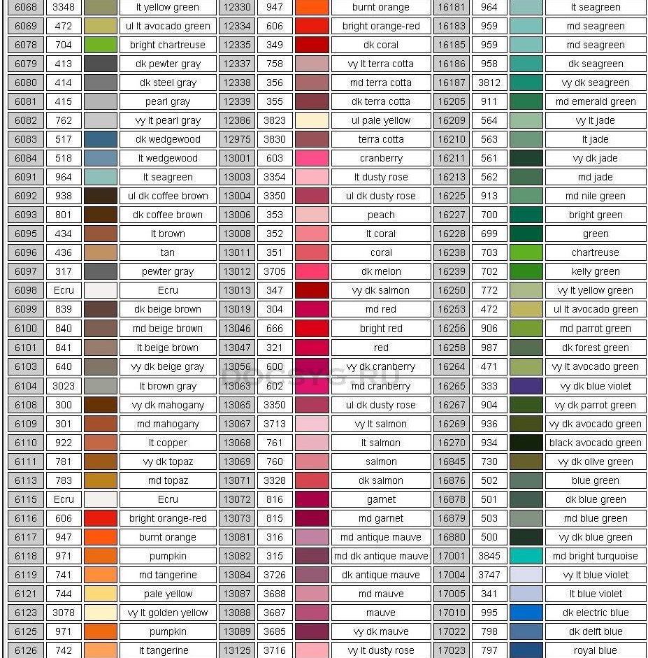 карта цветов мулине Dimension 2