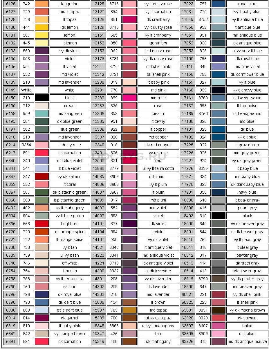 карта цветов мулине Dimension 3