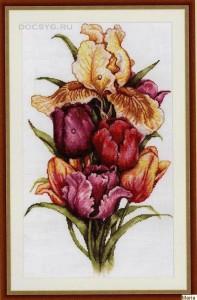 схема вышивки роса на тюльпанах