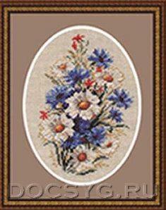 схема вышивки Бутоньерка с ромашками