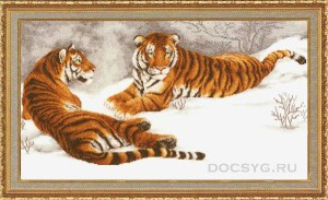схема вышивки Амурские тигры
