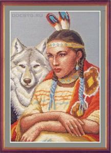 схема вышивки Белая волчица