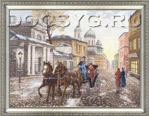 Вышивка московская улочка