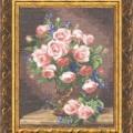 схема вышивки Розы и фиалки