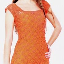 оранжевое платье вязаное крючком
