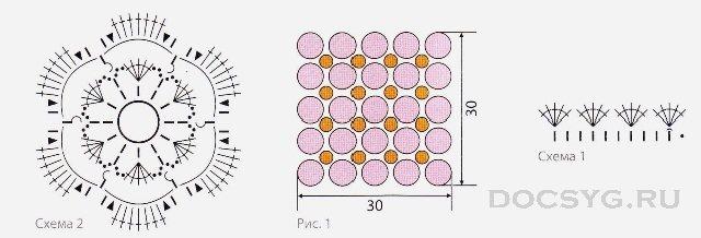 чехол на подушку в смешанной технике вязания схема