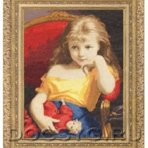 схема вышивки Девочка с куклой