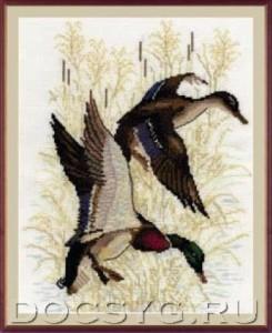 схема вышивки Утиная охота