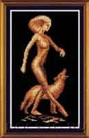 схема вышивки Девушка с волком