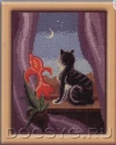 схема вышивки Кошка на окошке