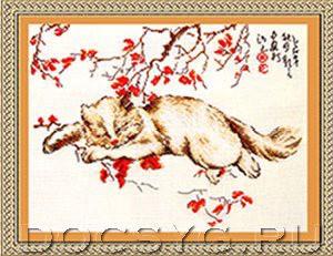 схема вышивки Спящий кот