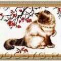 схема вышивки Задумчивый кот