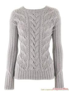 Вяжем пуловер с косами спицами