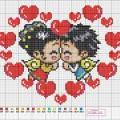 схемы вышивки сердечек4