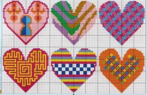 схемы вышивки сердечек5