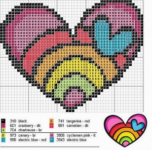 схемы вышивки сердечек