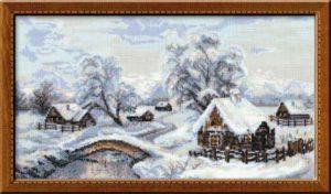 Схема вышивки Зима в деревне