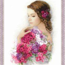 Схема вышивки Девушка с букетом цветов