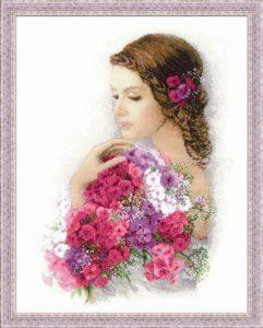 Схема вышивки Девушка с цветами