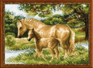 Схема вышивки Лошадь и жеребенок