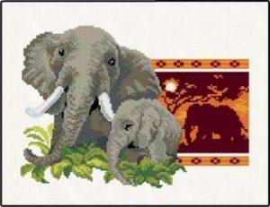 Схема вышивки Слоны