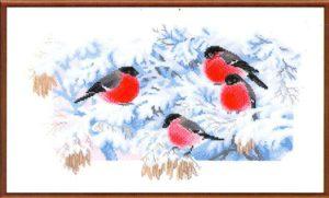 Схема вышивки Снегири
