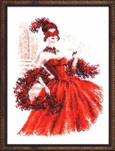 Схема вышивки Дама в красном