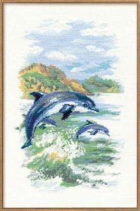 Схема вышивки Дельфины