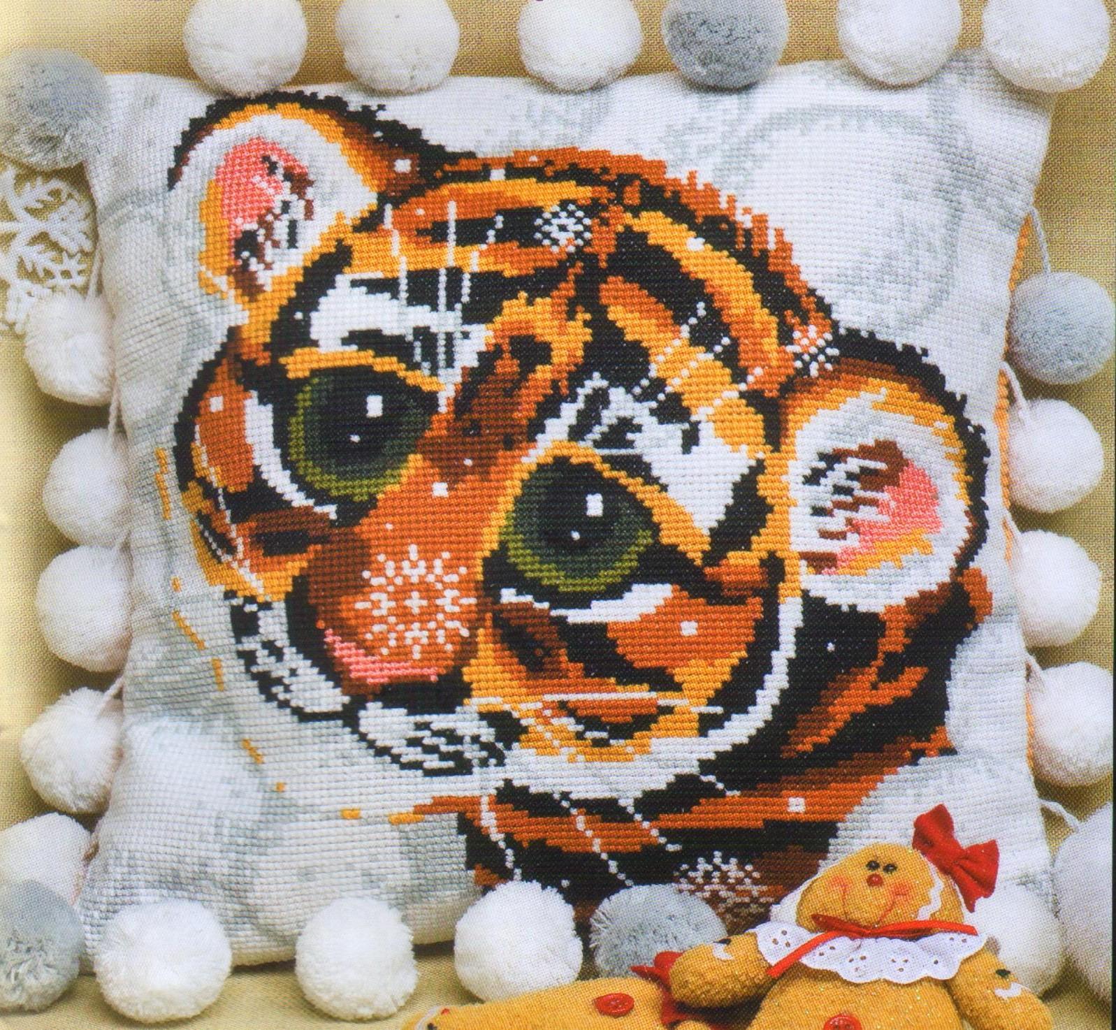 Скачать схему вышивки тигренок