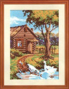 Схема вышивки Домик в деревне